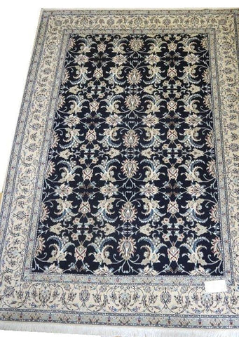 "15043 - Nain Persian Hand-Knotted Authentic/Traditional Carpet/Rug Silk-made 8'6"" x 5'9"""