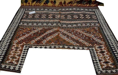 "14646 - Shiraz Persian Hand-weaved Antique Authentic/Traditional Nomadic/Tribal Horse-blanket 6'4"" x 4'9"""