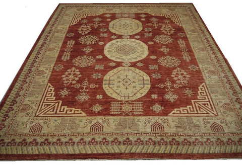 19235-Chobi Ziegler Hand-Knotted/Handmade Afghan Rug/Carpet Tribal/Nomadic Authentic 9'7''x 8'2''