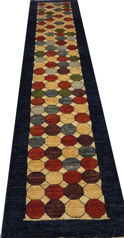 "18672-Chobi Ziegler Hand-Knotted/Handmade Afghan Rug/Carpet Tribal/Nomadic Authentic 11'0"" x 2'4"""