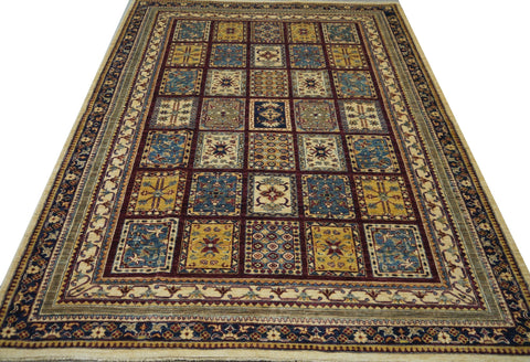 19109-Chobi Ziegler Hand-Knotted/Handmade Afghan Rug/Carpet Tribal/Nomadic Authentic 7'6''x 5'6''