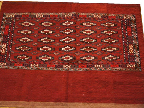 "14645 - Turkoman Persian Hand-weaved Antique Authentic/Traditional Nomadic/Tribal Sumac-bag 3'9"" x 2'7"""