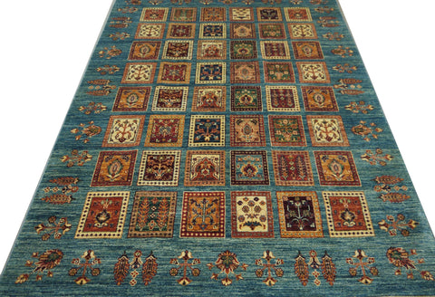 19107-Chobi Ziegler Hand-Knotted/Handmade Afghan Rug/Carpet Tribal/Nomadic Authentic 7'7''x 5'5''