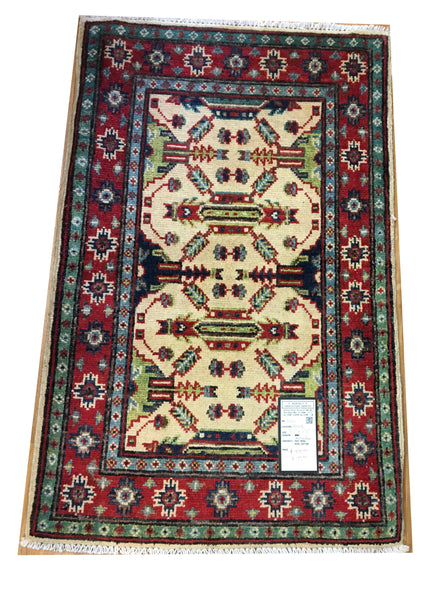 "21011-Kazak Hand-Knotted/Handmade Afghan Rug/Carpet Tribal/Nomadic Authentic3'1"" x 1'11"""