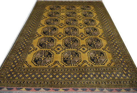 "18725-Khal Mohammad Hand-Knotted/Handmade Afghan Rug/Carpet Tribal/Nomadic Authentic 9'6"" x 6'10"""