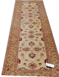 "16031-Chobi Ziegler Hand-Knotted/Handmade Afghan Rug/Carpet Traditional Authentic 10'4""x2'8"""