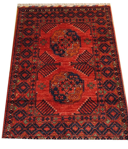 "16067-Khal Mohammad Hand-Knotted/Handmade Afghan Rug/Carpet Tribal/Nomadic Authentic 4'10"" x 3'4"""