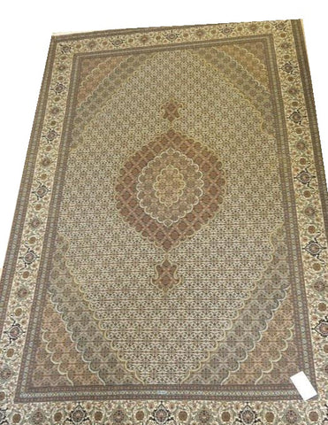 "15023 - Tabriz Persian Hand-Knotted Authentic/Traditional Carpet/Rug Silk-made Signed-piece 10'1"" x 6'7"""