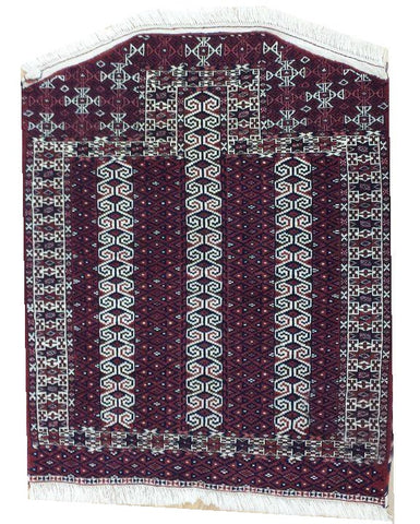 "14640 - Turkoman Persian Hand-knotted Antique Authentic/Traditional Nomadic/Tribal Carpet/Rug 3'8"" x 2'11"""
