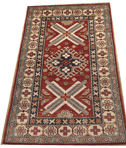 "17981-Royal Kazak Hand-Knotted/Handmade Afghan Rug/Carpet Tribal/Nomadic Authentic4'5"" x 2'9"""