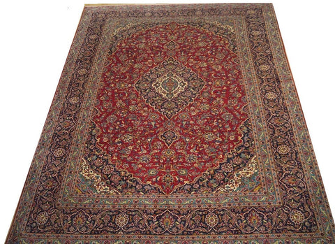 "16655-Kashan Hand-Knotted/Handmade Persian Rug/Carpet Traditional Authentic 12'6"" x 9'11"""