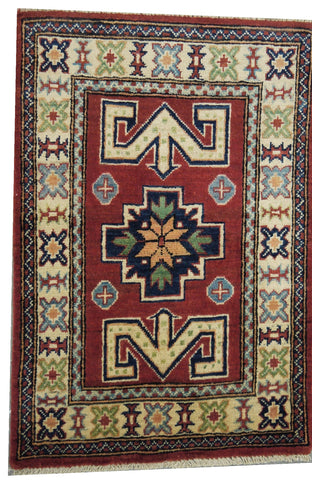 "19132-Kazak Hand-Knotted/Handmade Afghan Rug/Carpet Tribal/Nomadic Authentic 3'0"" x 2'0"""