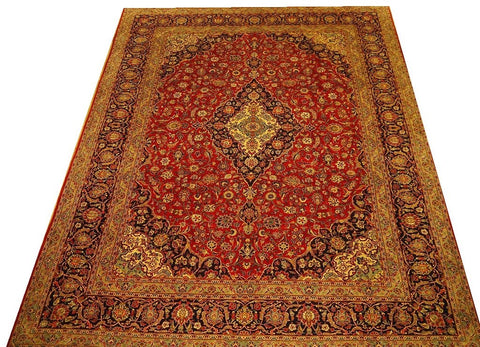 "16620-Kashan Hand-Knotted/Handmade Persian Rug/Carpet Traditional Authentic 12'10"" x 9'7"""