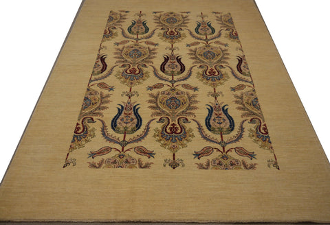"19125-Chobi Ziegler Hand-Knotted/Handmade Afghan Rug/Carpet Tribal/Nomadic Authentic 7'9"" x 5'6"""