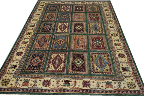 19104-Chobi Ziegler Hand-Knotted/Handmade Afghan Rug/Carpet Tribal/Nomadic Authentic 7'8''x 5'7''