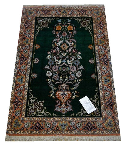 "15028 - Isfahan Persian Hand-Knotted Authentic/Traditional Carpet/Rug Silk-made 3'11"" x 2'8"""