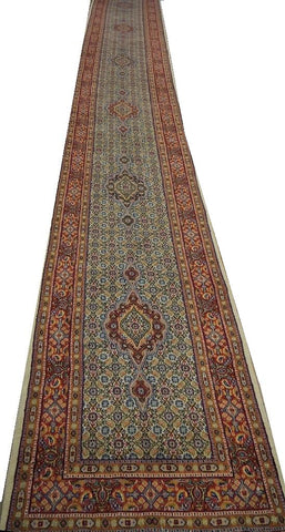 19803-Moud Hand-Knotted/Handmade Persian Rug/Carpet Traditional Authentic