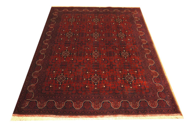 "19810-Khal Mohammad Hand-Knotted/Handmade Afghan Rug/Carpet Tribal/Nomadic Authentic 6'2"" x 5'0"""