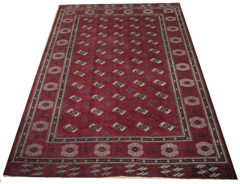 16613-Turkmen Hand-Knotted/Handmade Afghan Rug/Carpet Tribal/Nomadic Authentic 12'10''x8'8''
