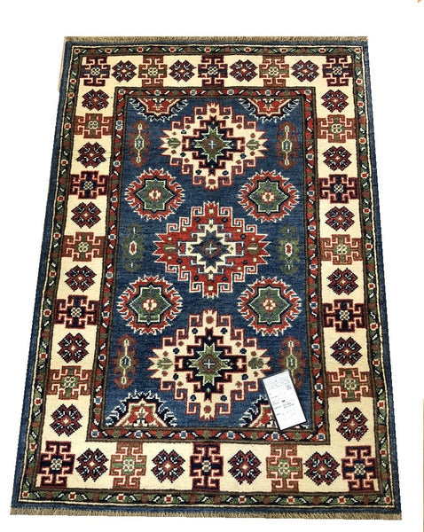 "20983-Kazak Hand-Knotted/Handmade Afghan Rug/Carpet Tribal/Nomadic Authentic4'0"" x 2'9"""