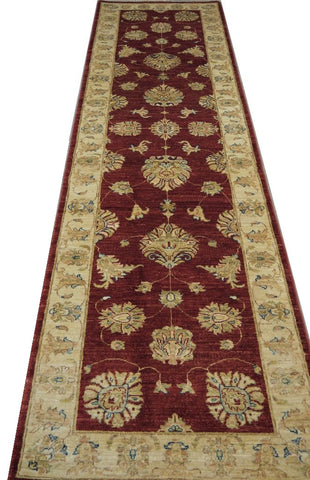 "19338-Chobi Ziegler Handmade/Hand-knotted Afghan Rug/Carpet Tribal/Nomadic Authentic10'0"" x 2'9"""