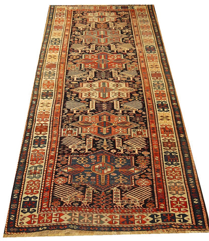 "16035-Ghazaf Kazak Hand-Knotted/Handmade Russian Rug/Carpet Tribal/Nomadic Authentic 9'8"" x 4'2"""