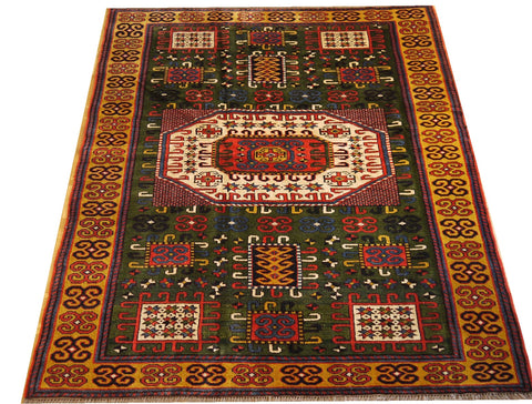 16074-Uzbek Hand-Knotted/Handmade Afghan Rug/Carpet Tribal/Nomadic Authentic