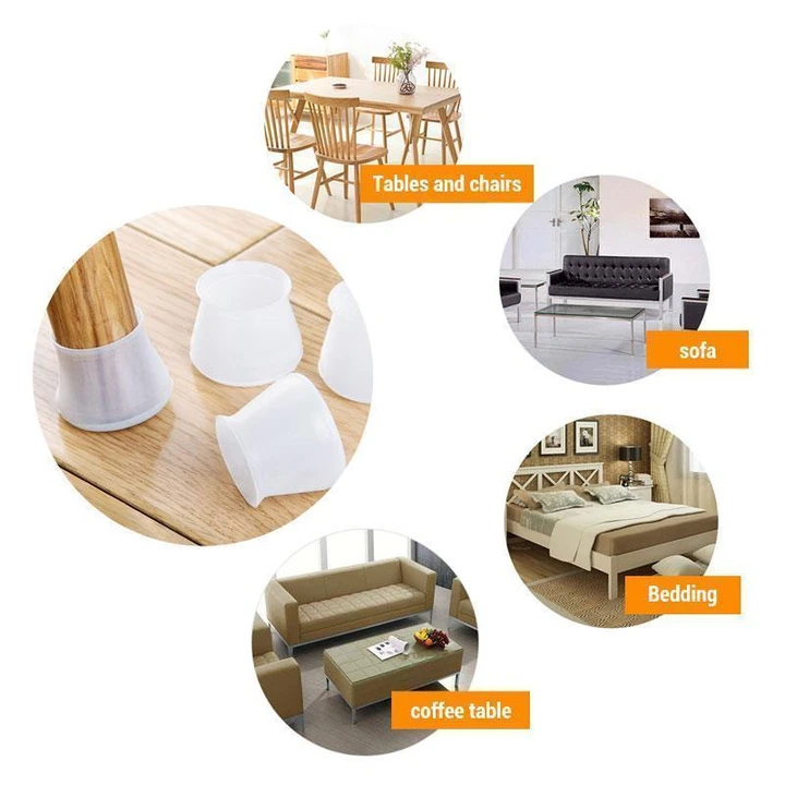 Round & Square Furniture Silicone Protection Cover 16pcs/set  For Chair Leg-A1