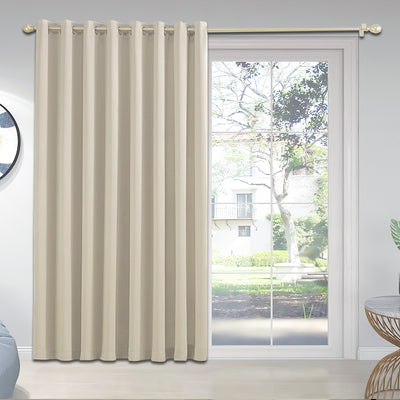 YIUMULA Sliding door BLACKOUT curtains, Beige, 1 Panel - Baby's First Class