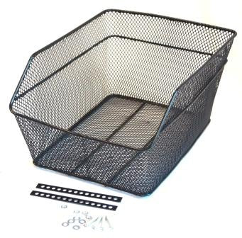 BASKET - Rear Mesh, Fixed Fittings, Compact, L 38cm x W 29cm x H 18cm, Black