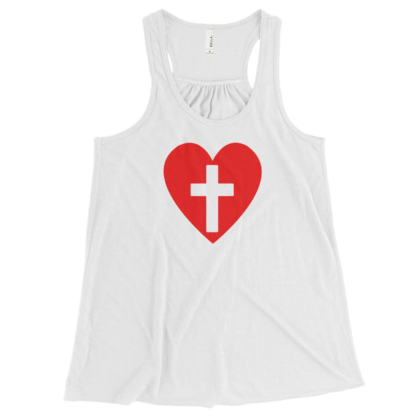 Women's Flowy Heart with a Cross Tank