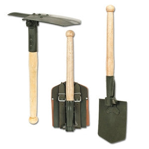 Major German Reproduction Folding Shovel w/Wood Handle and Pick (MAJOR-02-0307004) - Hahn's World of Surplus & Survival
