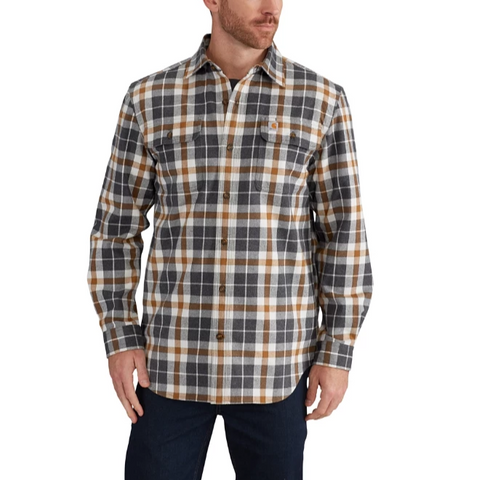 Carhartt Shirt - Force Hubbard Plaid Flannel - Asphalt (CH-102415-066)