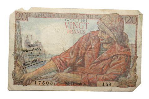 1942 Banque of France 20 Vingt Francs Bank Note