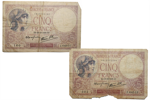 5 Francs 1939 (10. VIII.) Bank Note (2)