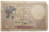 5 Francs 1939 (10. VIII.) Bank Note (2) (410MOM-C)