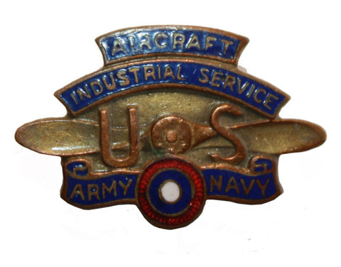 WWI U S Army Navy Aircraft Industrial Service Worker Numbered Badge