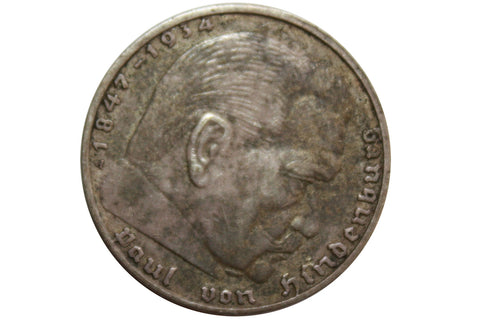 1938 Paul Van Hindenburg 2 Reich Mark Silver Coin