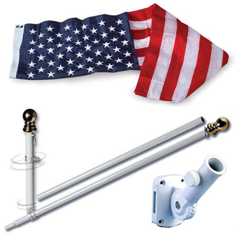 Allied Products Flag Set -  U.S. Embroidered Nylon 3' x 5' and 5' Spinning Flag Pole (60-100-00601) - Hahn's World of Surplus and Survival
