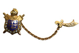 Vintage Demolay 10K Gold Pearls Masonic Youth Sword Guard Lapel Pin