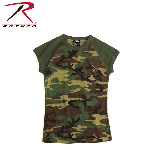 Rothco Womens Camo 2-Tone Raglan T-Shirt Woodland Camo (R-8034/44) - Hahn's World of Surplus & Survival