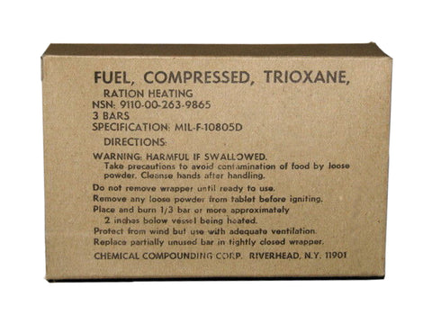 Fuel, Compressed, Trioxane Ration Heating