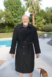 BLOWOUT SALE New Double Breasted Military Trench Raincoat w/liner - Black