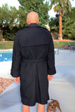 BLOWOUT SALE New Double Breasted Military Trench Raincoat NO-Liner - Black