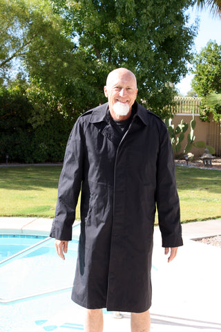 BLOWOUT SALE New Single Breasted Military Trench Raincoat w/Fleece Liner - Black