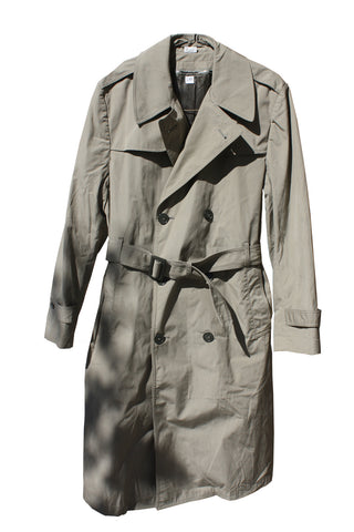 BLOWOUT SALE USED Double Breasted Military Trench Raincoat w/liner - Sage