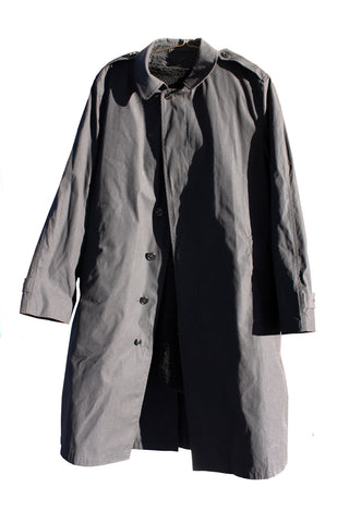 BLOWOUT SALE USED Single Breasted Military Trench Raincoat w/liner - Black