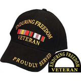 Eagle Emblems Enduring Freedom Veteran Ball Cap - Black (EM-CP00611) - Hahn's World of Surplus & Survival