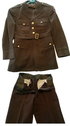 SALE Vintage WWII Officer's Men's Wool Winter Uniform - OD