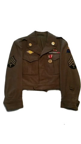 SALE Vintage US Military Ike Jacket w/Patches & Insignias - OD (HWS-USFJ-PI)